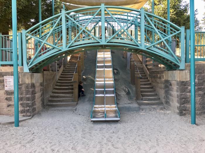 Anna jean Cummings Park bridge and slides